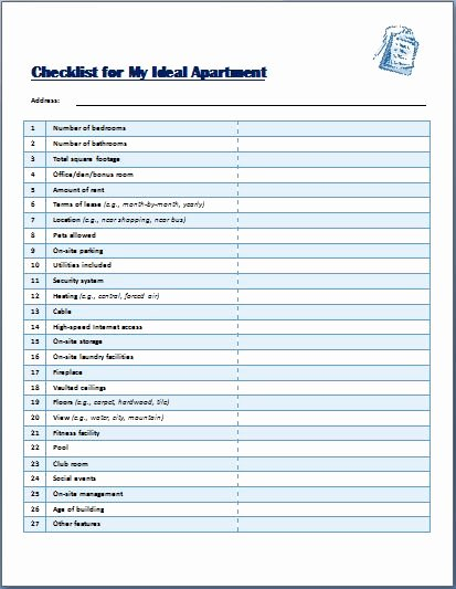 Ideal Apartment Selecting Checklist Template