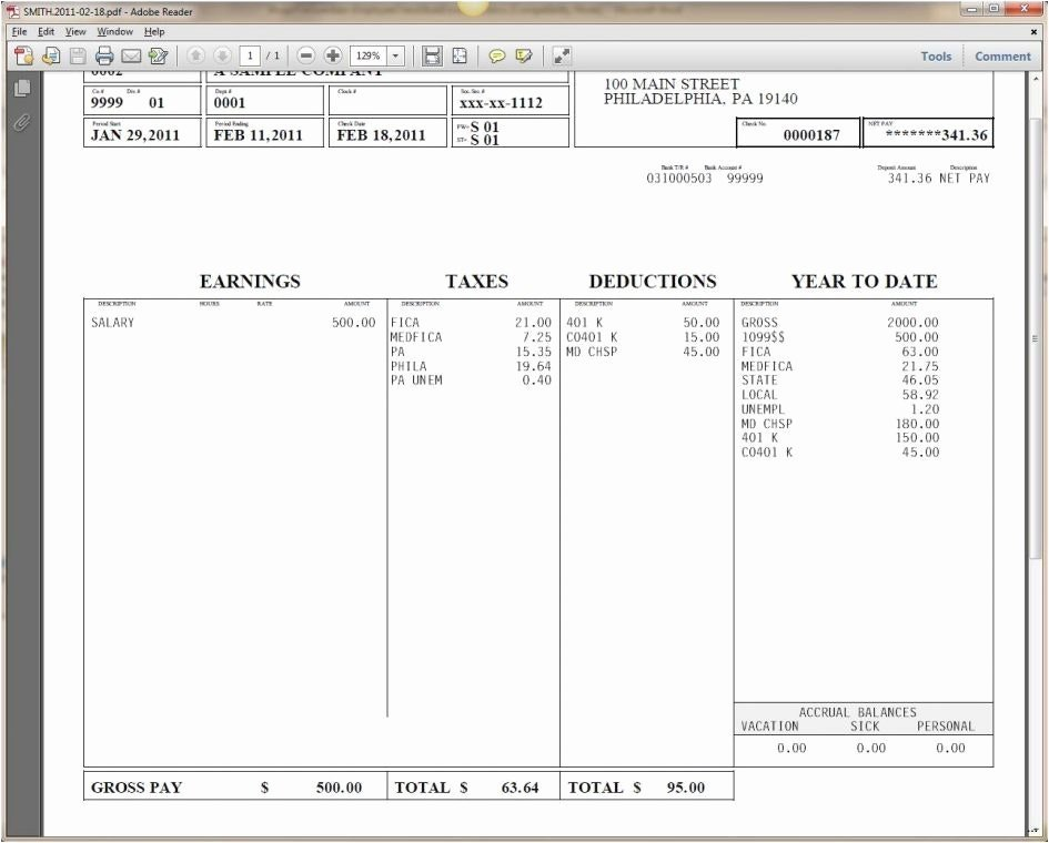 Independent Contractor Pay Stub Template format 1099 Word