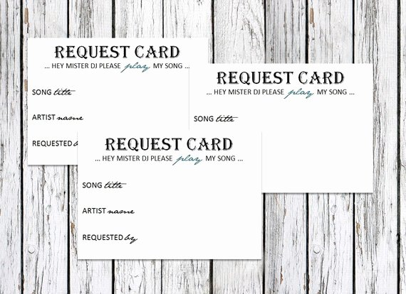 Items Similar to Dj song Request Cards Wedding Party On
