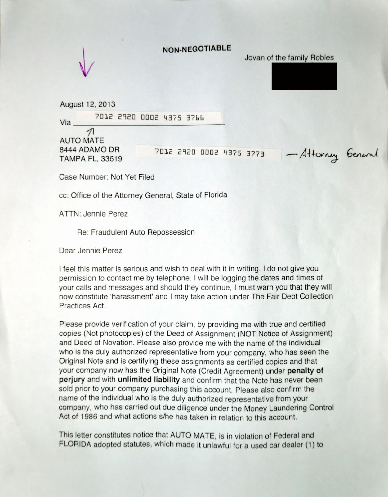 Julian S Demand Letter Response to Fraudulent Car