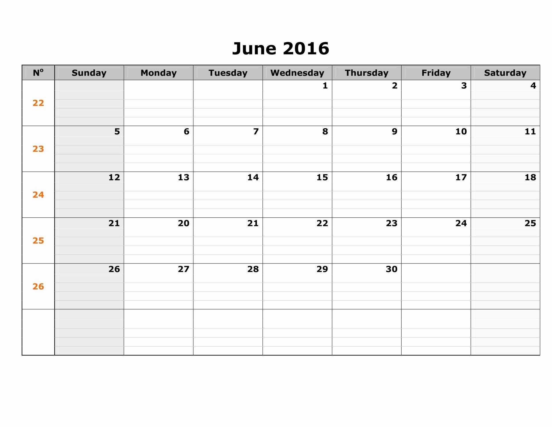 June 2016 Weekly Calendar