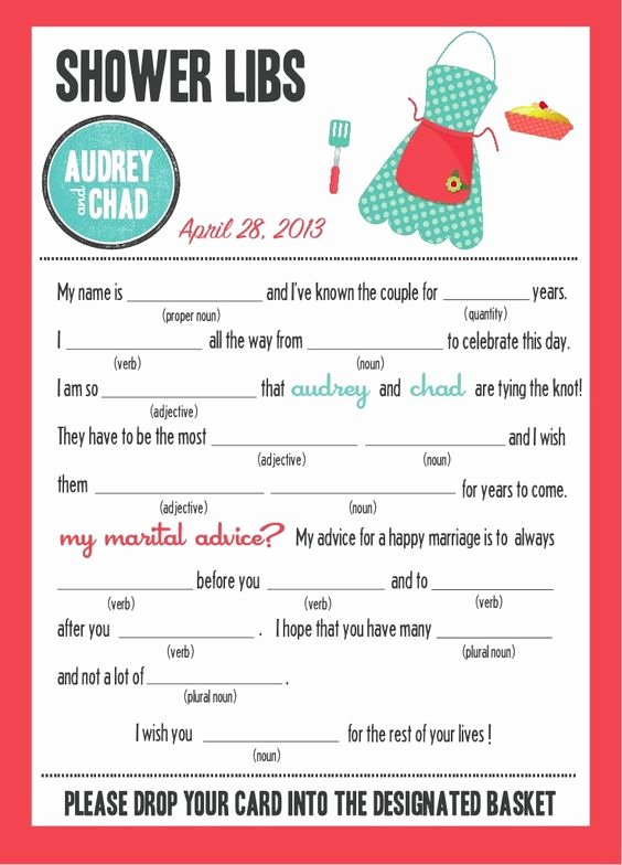"Mad Libs Bridal Shower Edition ""kitchen Party"""