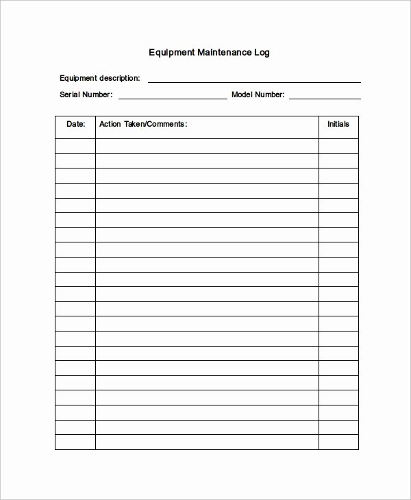 Maintenance Log Template 11 Free Word Excel Pdf
