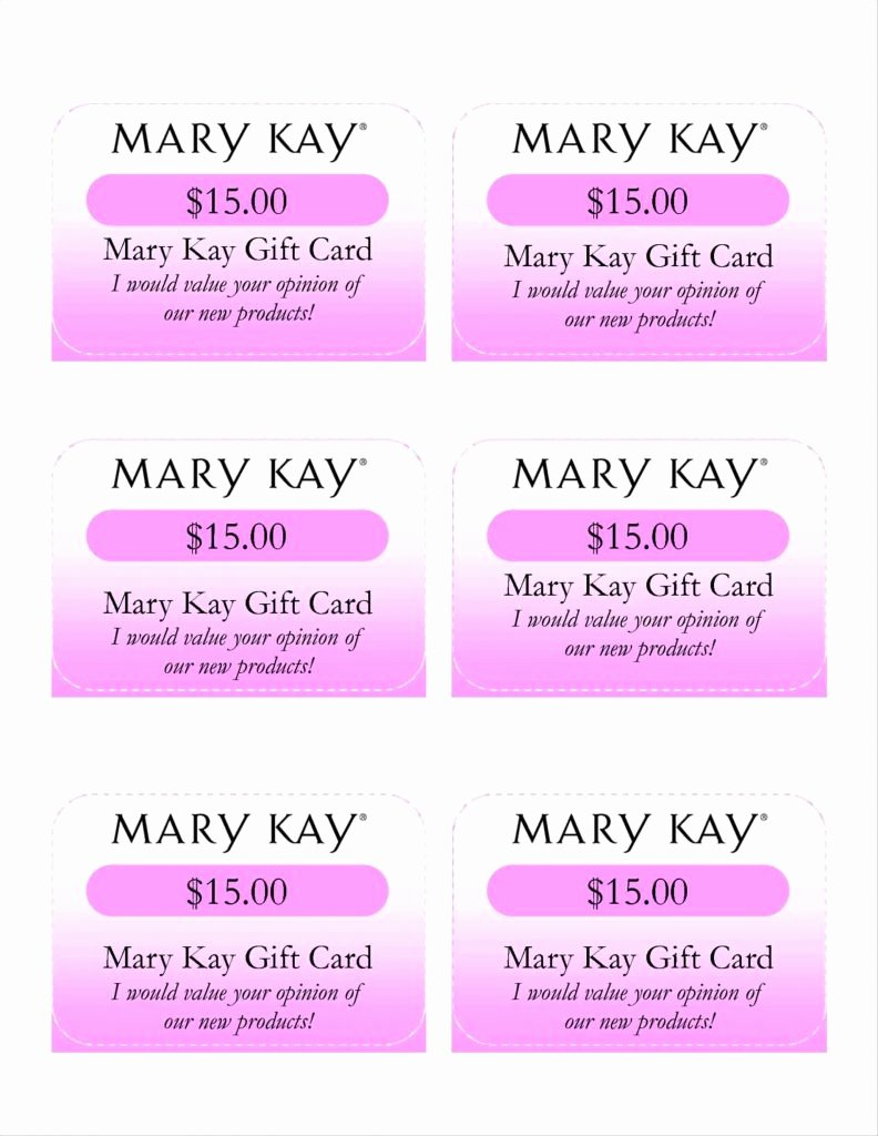 Mary Kay Gift Certificates Free Template