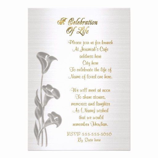 Memorial Invitations Celebration Life