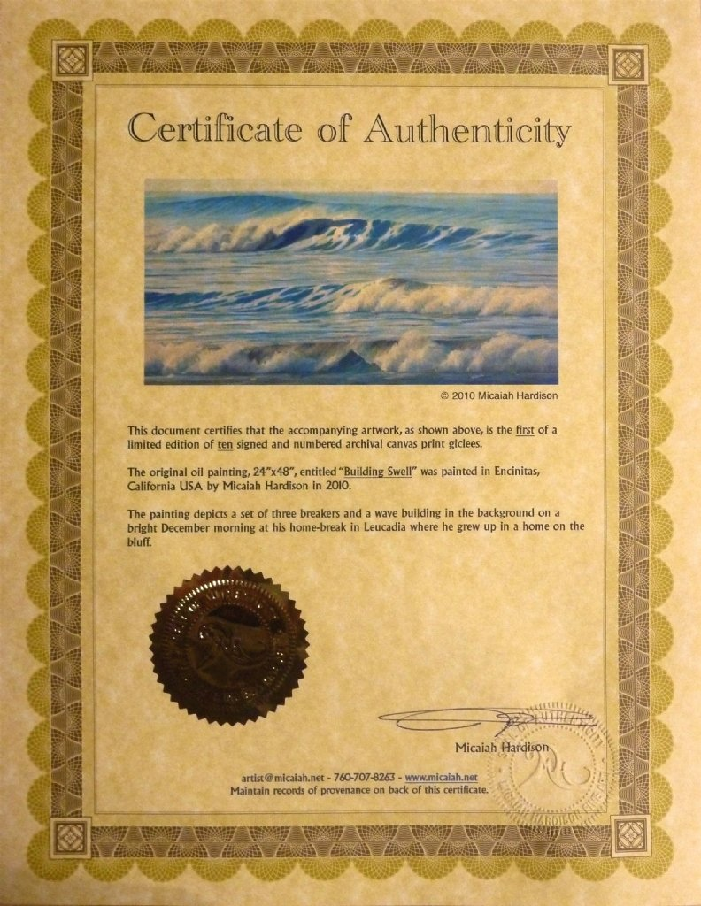 Micaiah Hardison Work Zoom Certificate Of Authenticity