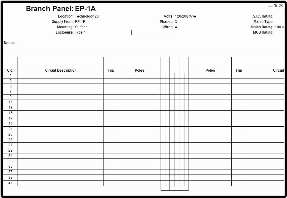 Mickey Electrical Panel Template Free Schedule Pdf Labels