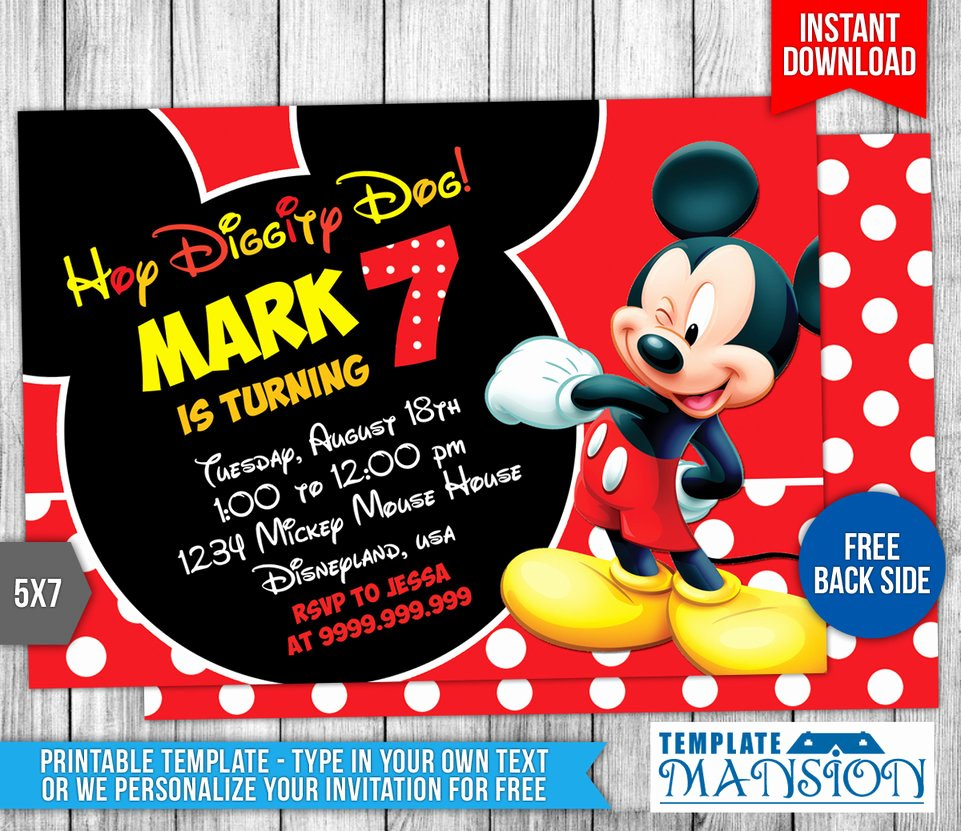 Mickey Mouse Birthday Invitation 4 by Templatemansion On