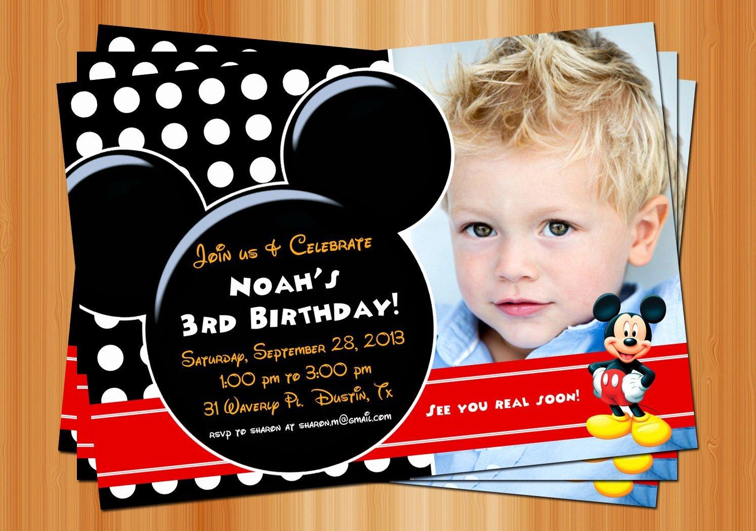 Mickey Mouse Birthday Invitation Printable Birthday Party