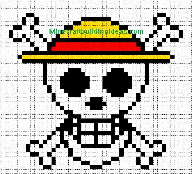 Minecraft Pixel Art Templates Straw Hat Luffy