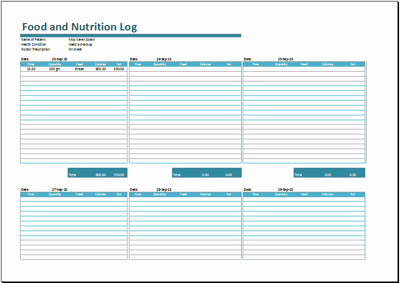 Ms Excel Food Nutrition Log Template