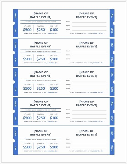 Ms Word Raffle Ticket Templates