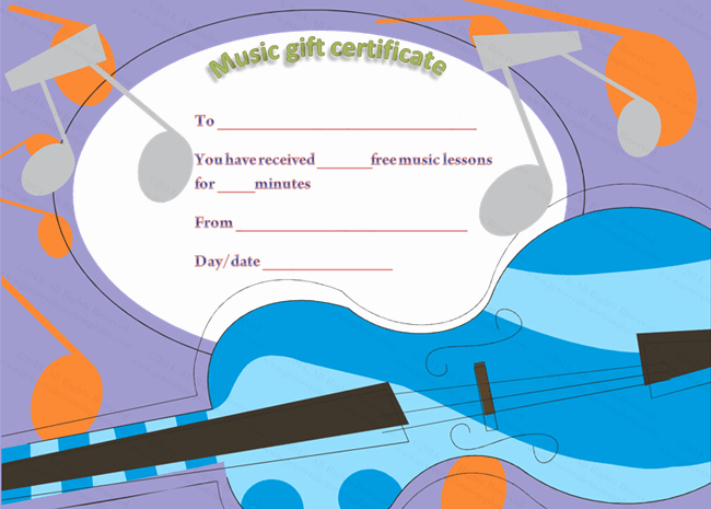 Music Classes Gift Certificate Template