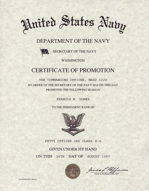 Navy Enlisted Promotion Certificates