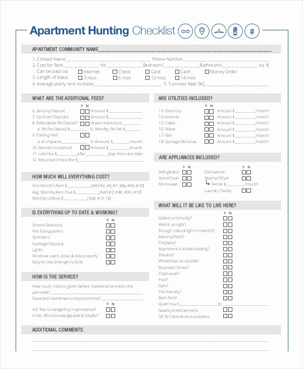 New Apartment Checklist 9 Free Word Pdf Documents