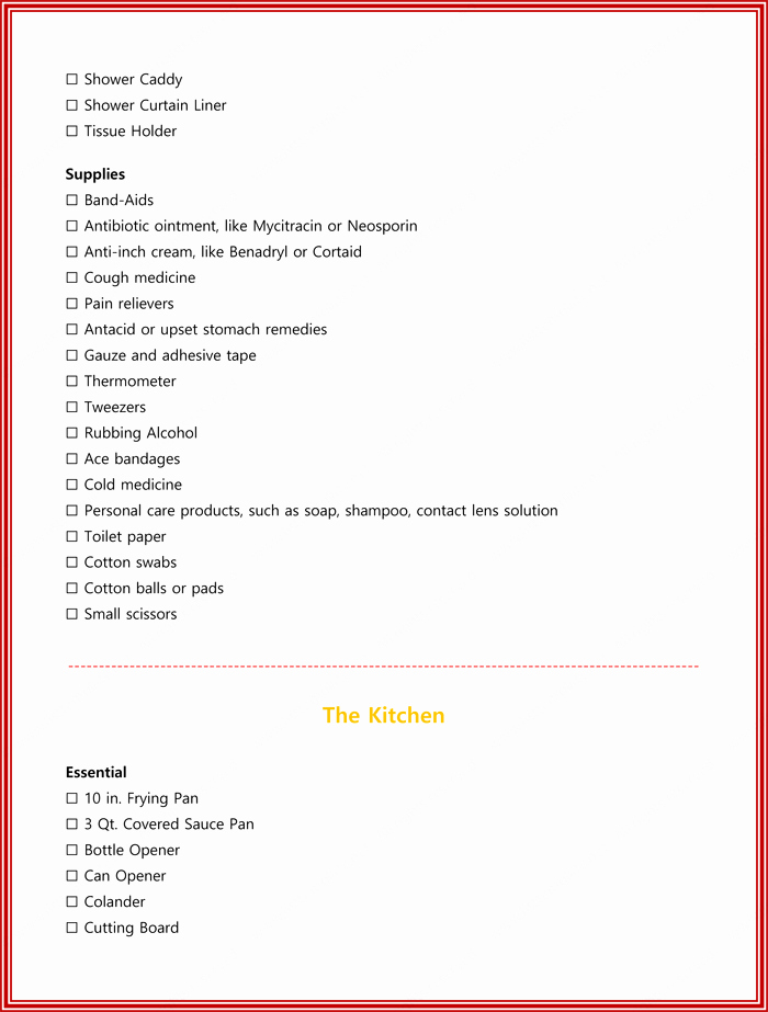 New Apartment Checklist Template Things You Must Need