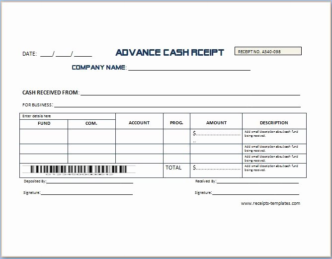 Non Refundable Deposit Receipt Template