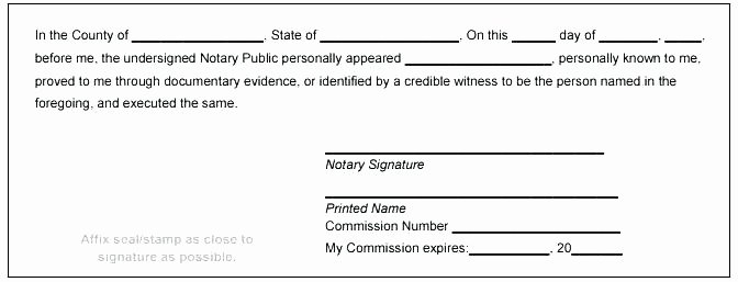 Notary Signature Template with Block Public Sample to