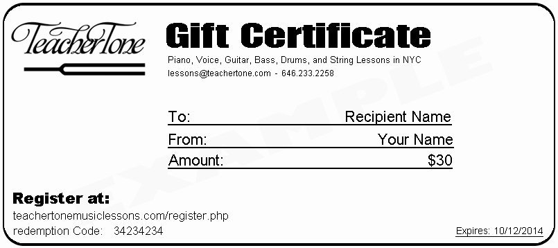 Nyc Music Lesson Gift Certificates
