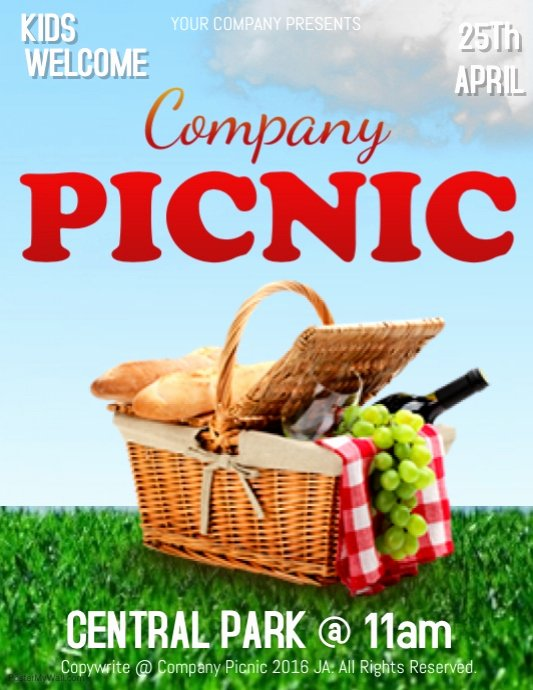 Tropical Picnic Flyer Template Church Picnic Funday Latter Example