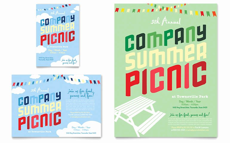 Pany Summer Picnic Flyer & Ad Template Word & Publisher