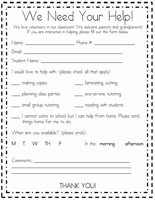 Parent Volunteer form Template Teacheng