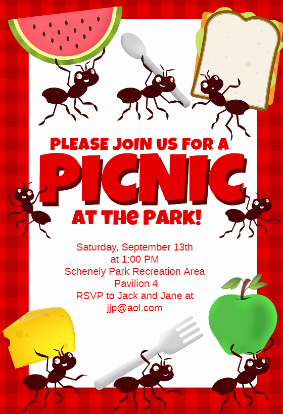 Picnic Party Free Dinner Party Invitation Template