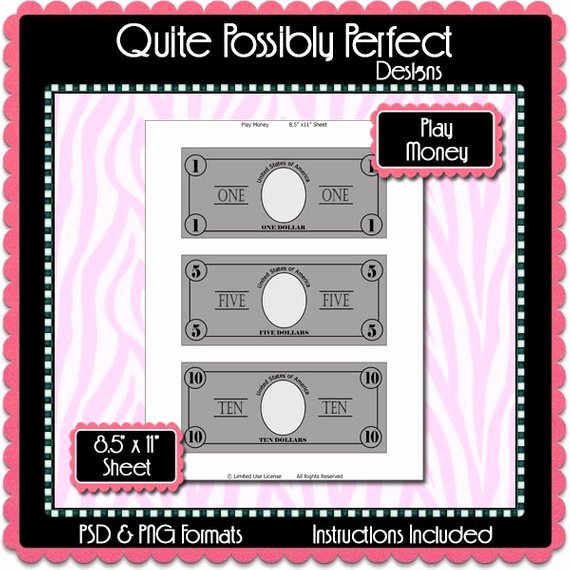 Play Money Template Instant Download Psd and Png formats