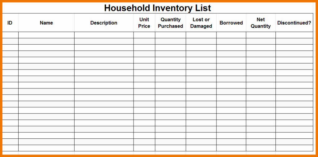 Premium Household Inventory Checklist Template Sample