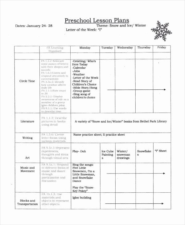 Preschool Lesson Plan Template 9 Free Word Pdf Psd