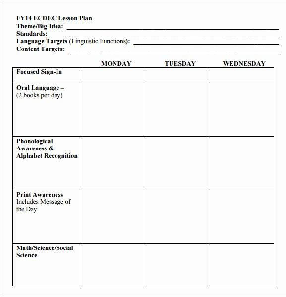 Preschool Lesson Plan Template Word