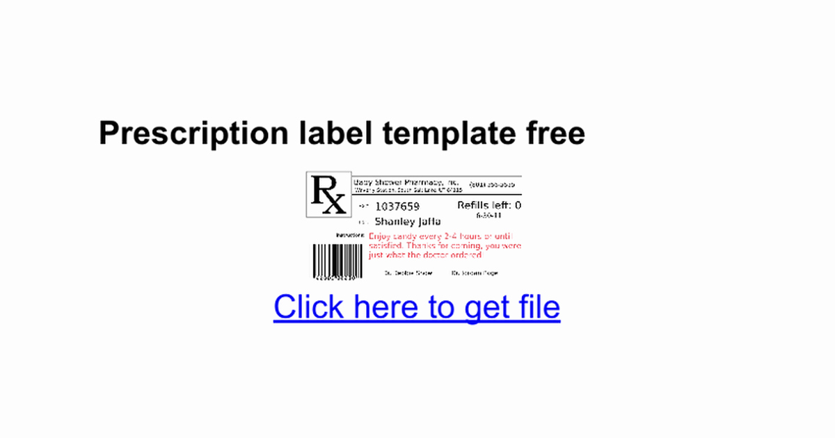 Prescription Label Template Free Google Docs