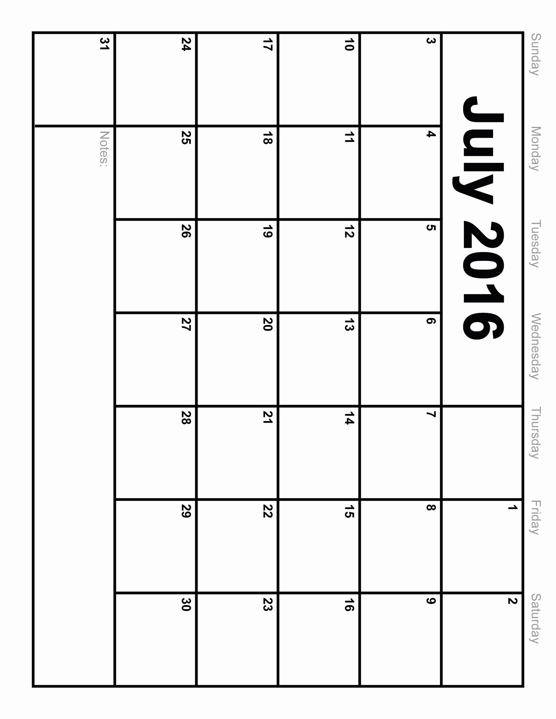 Printable Blank July 2016 Calendar Template