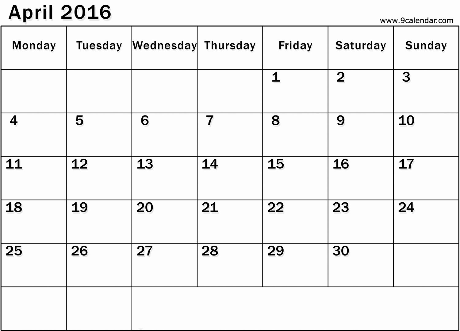 Printable Blank Monthly Calendar May 2016 Starting Monday