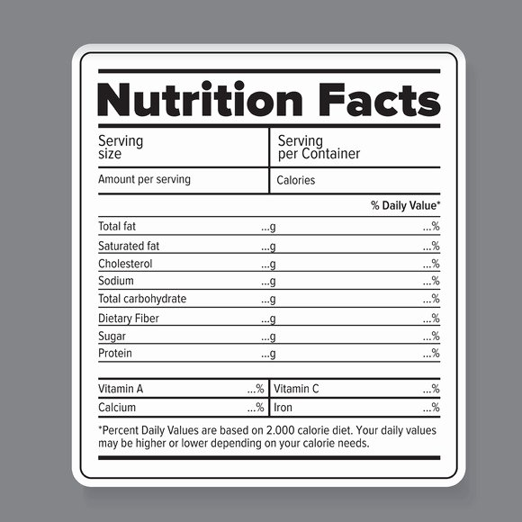 printable blank nutrition label