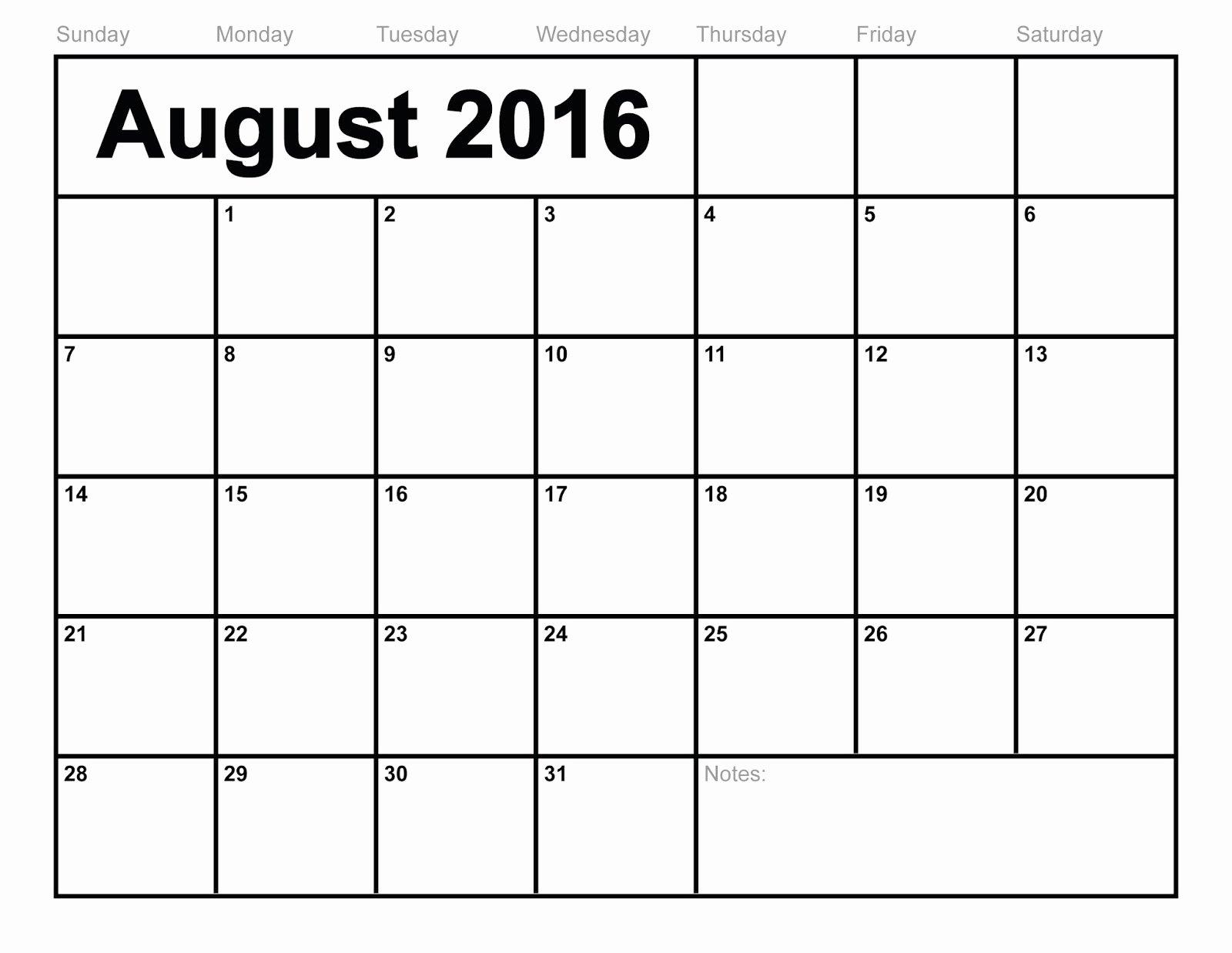 Printable Calendar 2018 August 2016 Printable Calendar