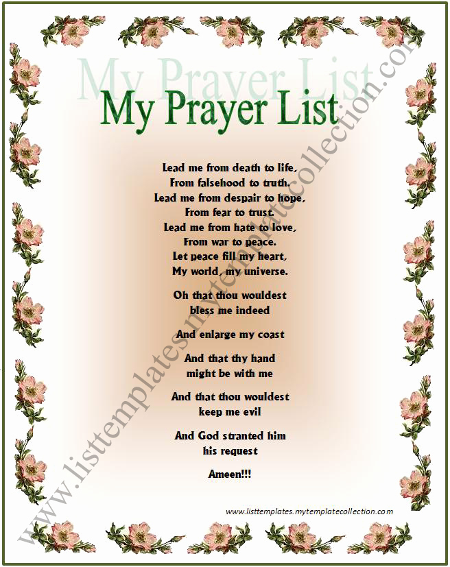 Printable Prayer Request List to Pin On Pinterest