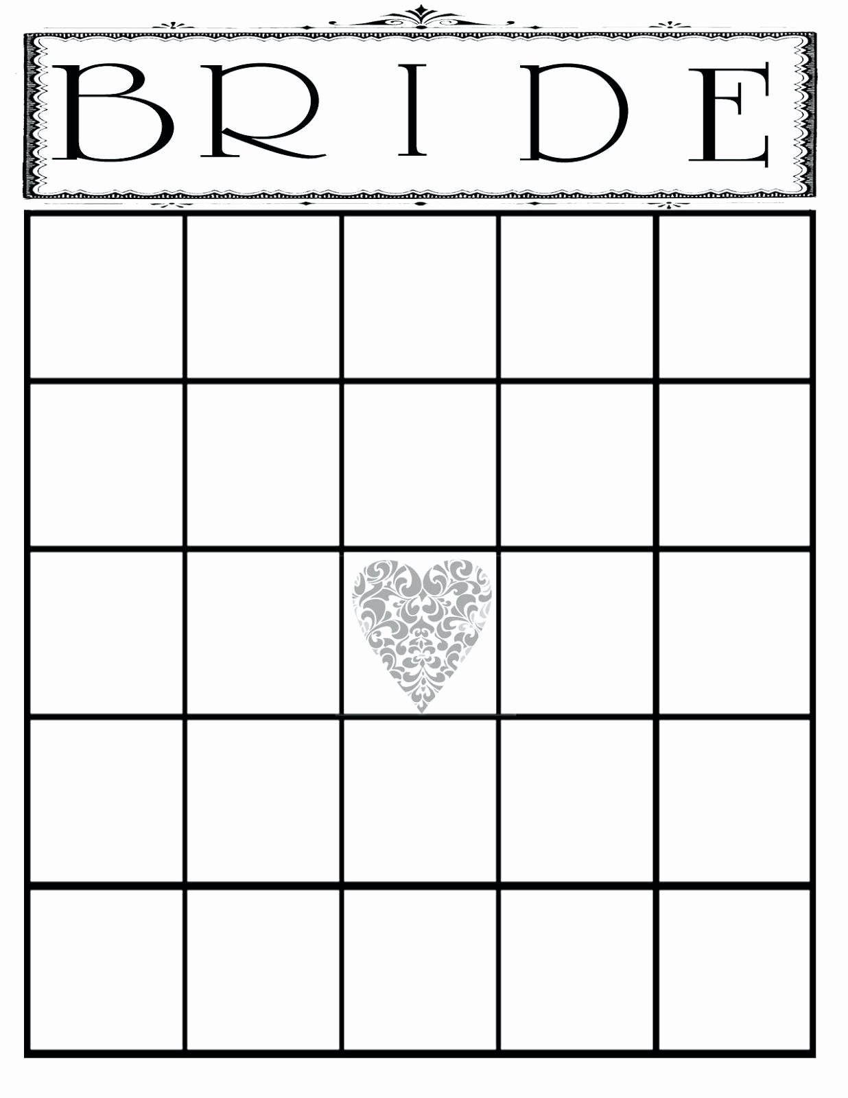 Printable Printable Bridal Shower Bingo Template Blank