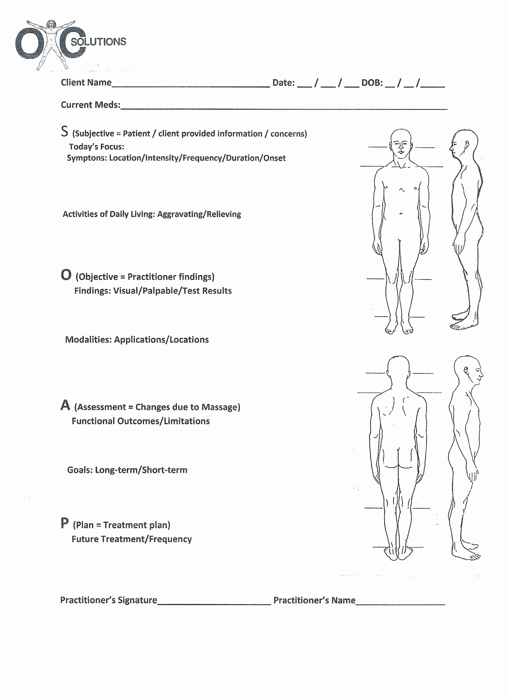 Printable Printable Chiropractic forms soap Note Massage