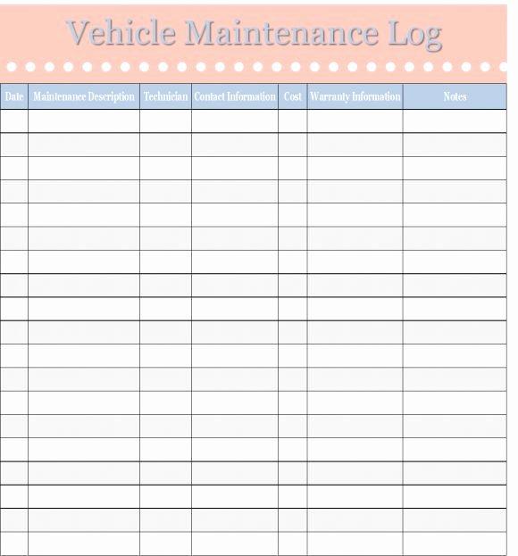 Printable Vehicle Maintenance Log Template Excel Template