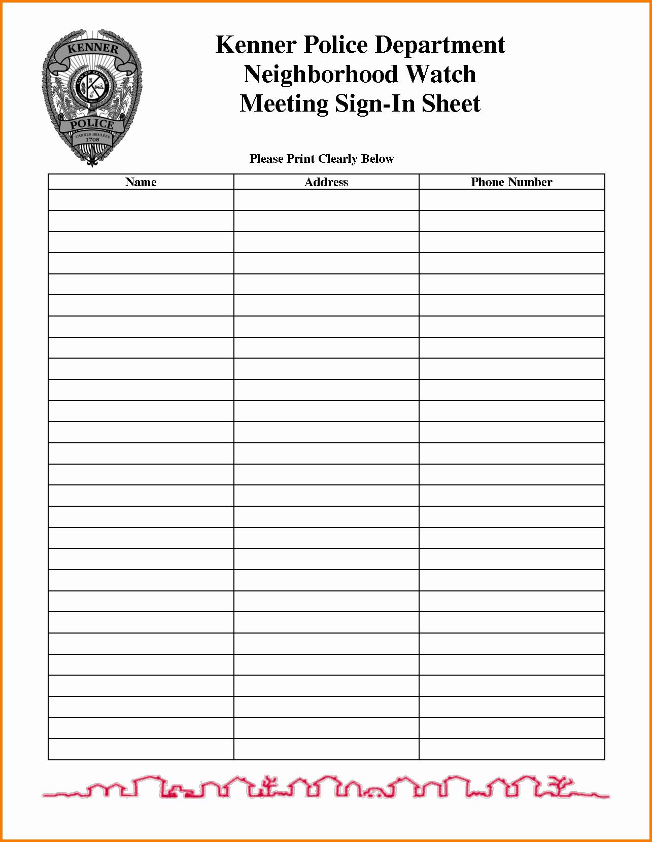 Pta Meeting Sign In Sheet Template Baskanai