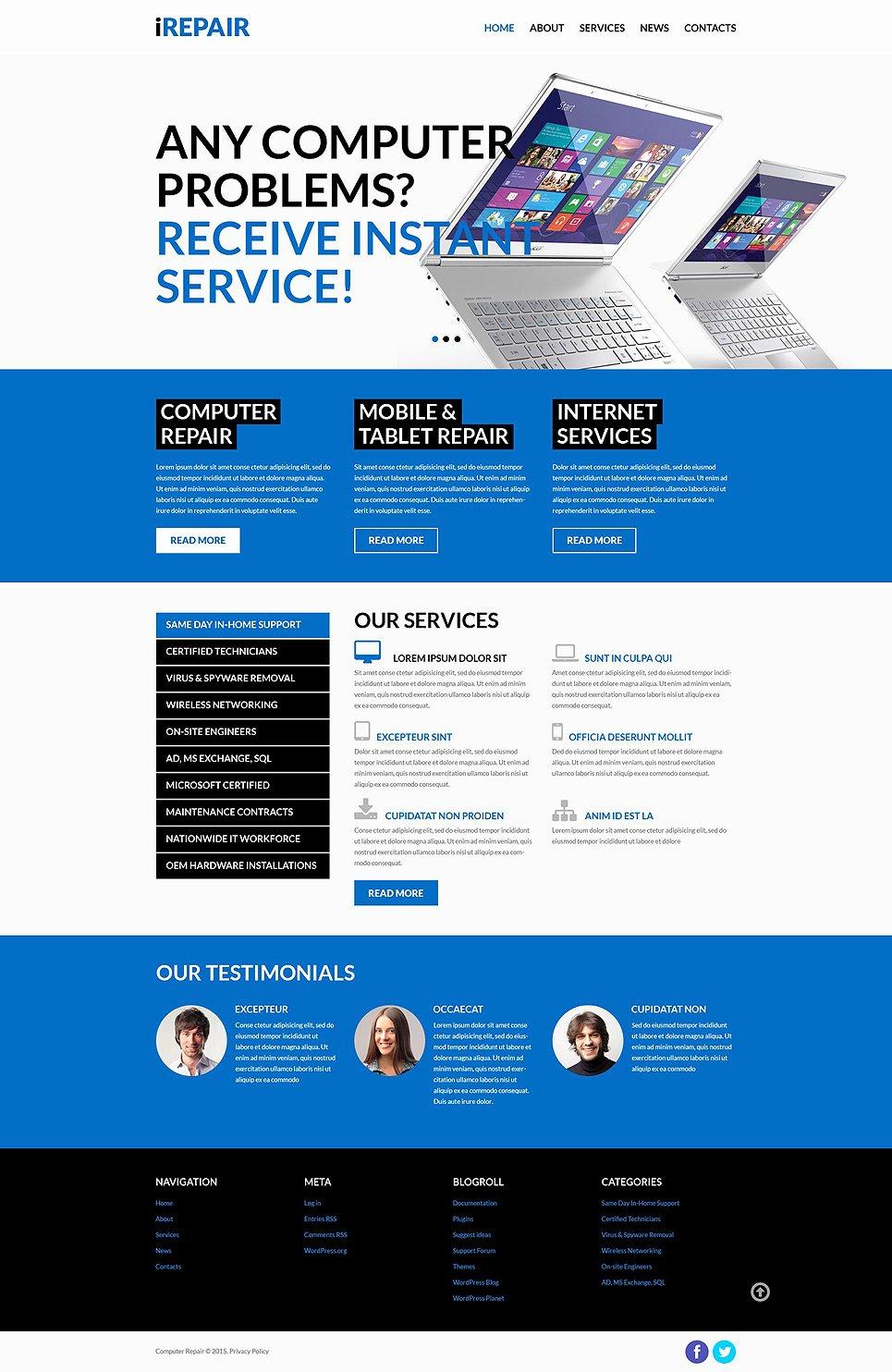 Puter Repair Services Wordpress theme
