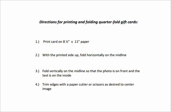 Quarter Fold Card Template – 7 Free Printable Word Pdf