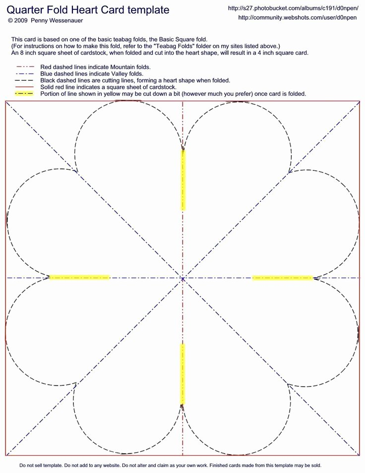 Quarter Fold Heart Card Template Card Folds