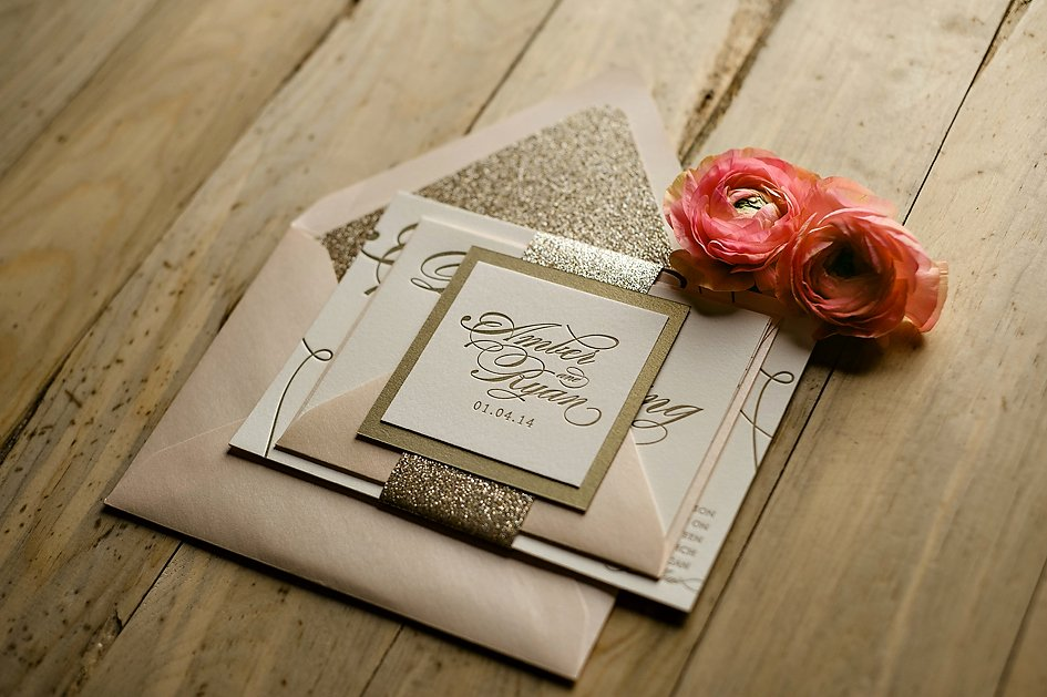 Real Wedding Amber and Ryan Pink Gold Glitter Weddi
