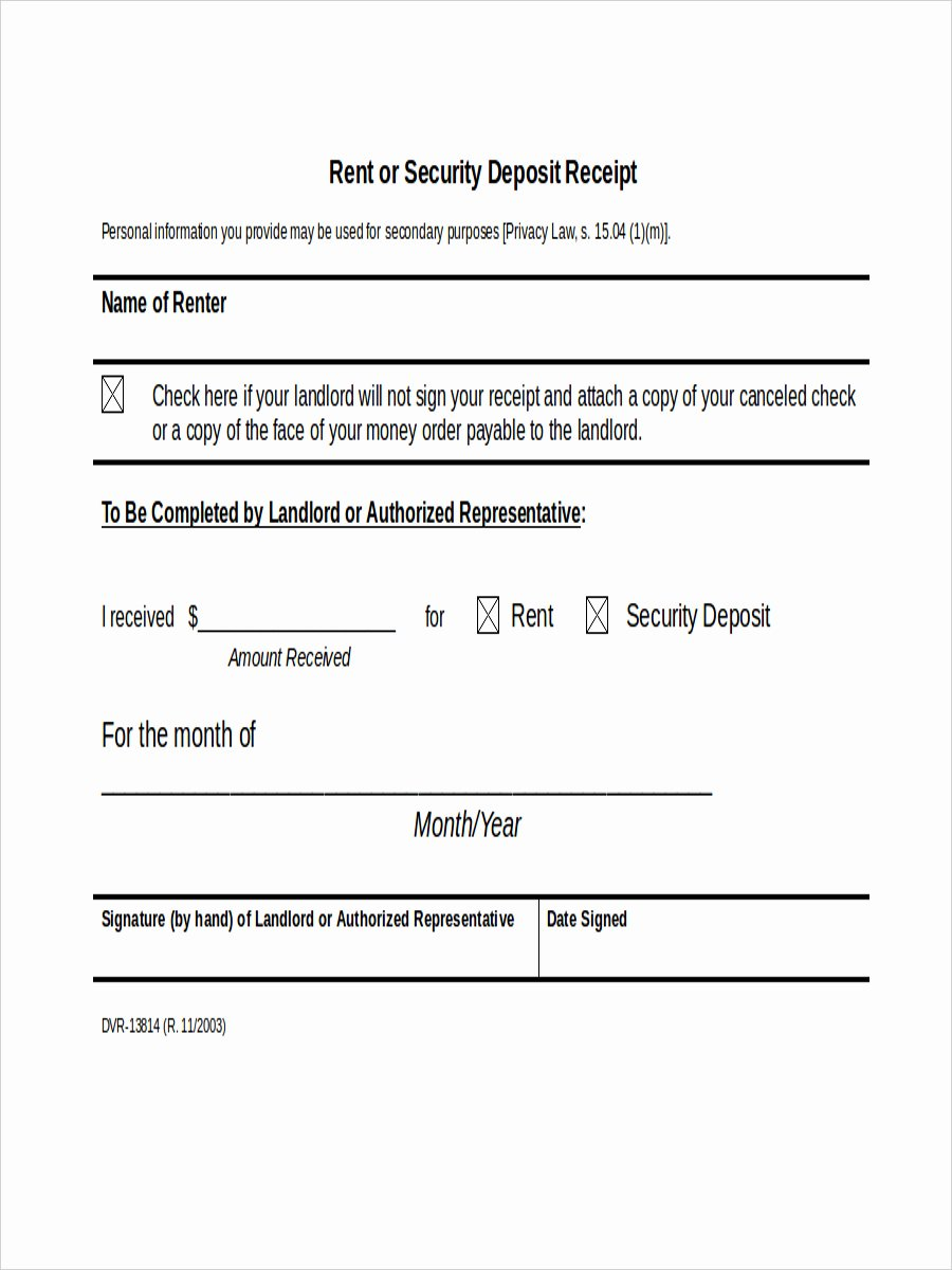 Receipt Security Deposit Receipt form