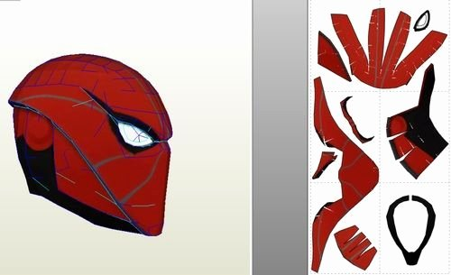 Red Hood Helmet Pepakura Foam Template