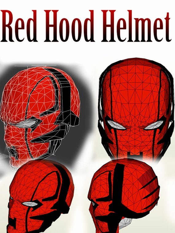 Redhood Red Hood Helmet Mask Pepakura Cosplay 3dmodel Dc