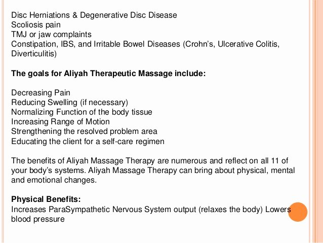 Rehabilitative Massage Aliyah Treatment Center