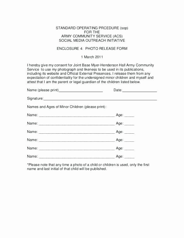Release form Template Free Simple Consent Media for